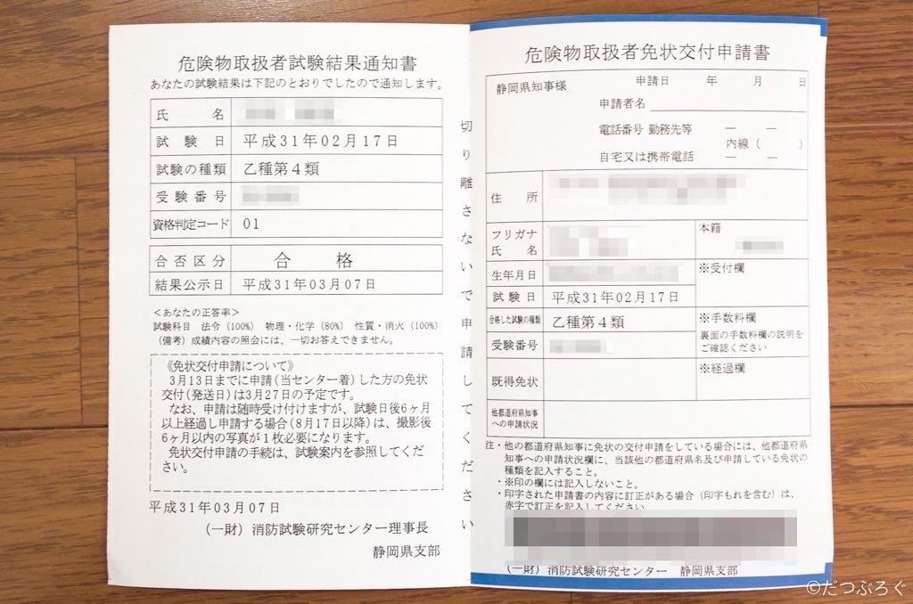乙4類危険物取扱者の免状交付申請